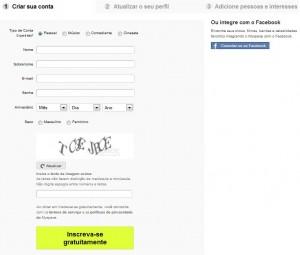 Tela de cadastro do Myspace