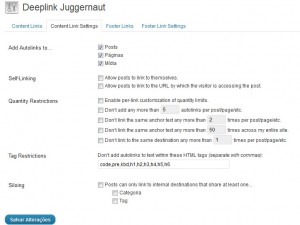 Configurações dos links internos do deeplink juggernaut - SEO Ultimate