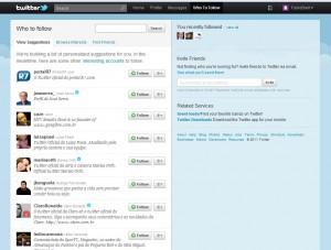 Sugestões de quem seguir no Twitter