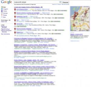 Página de resultados com Google Places nas primeiras posições