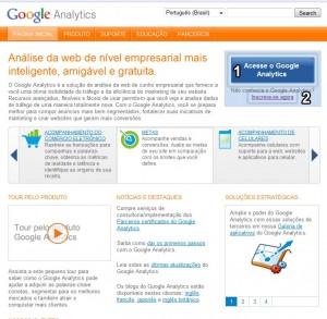 Interface da página inicial do Google Analytics