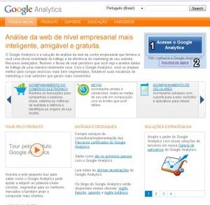 Interface da página inicial do Google Analytics