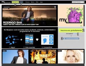 Página inicial do Myspace