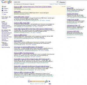 Página de resultados do google.com.br - SERP