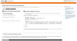Página com o tracking code do Google Analytics