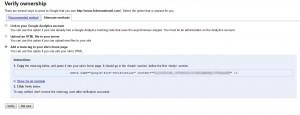 Verificação do site no Google Webmaster Tools